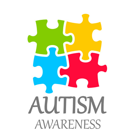 autism: Vector world autism awareness day poster on white background Illustration