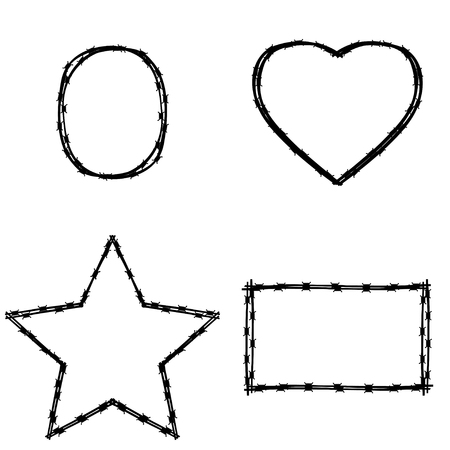 disagreement: Vector black wire in various shape on white background. Set of various shapes and frames of barbed wire - square, circle, heart