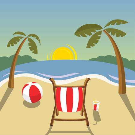 beach sunset: Flat landscape - beach sunset. Vector illustration format Illustration