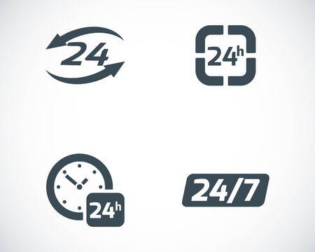 Vector negro 24 horas iconos conjunto sobre fondo blanco