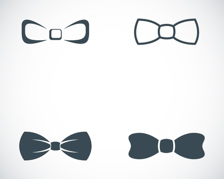 black bow: Vector black bow ties icons set on white background