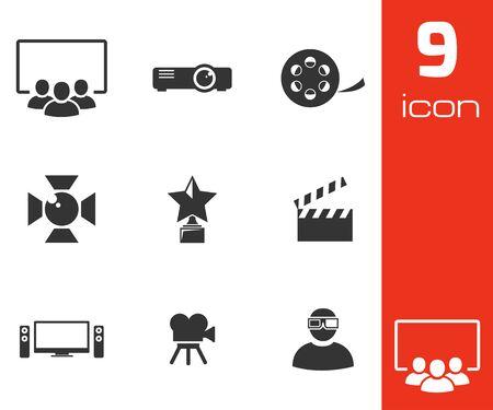 program: Vector black movie icons set white background Illustration