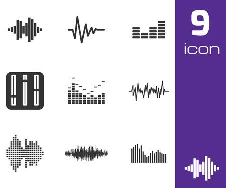 soundwave: Vector black music soundwave icons set white background