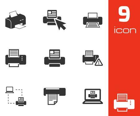 balck and white: Vector balck printer icons set white background Illustration