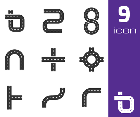 map toolkit: Vector black road elements icons set white background