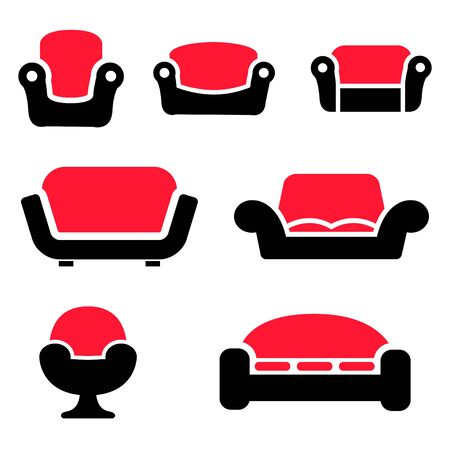 couches: Vector sofas and couches icons set on white background. Sofa furniture. Vintage furniture. Illustration