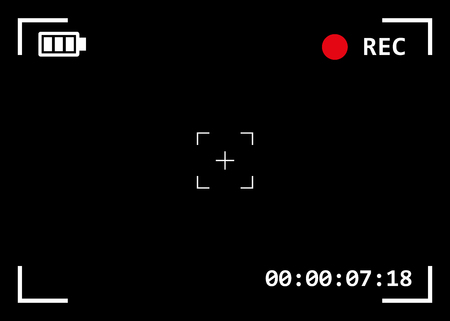 Camera viewfinder with exposure and camera settings. Video screen on a black background. Illustration