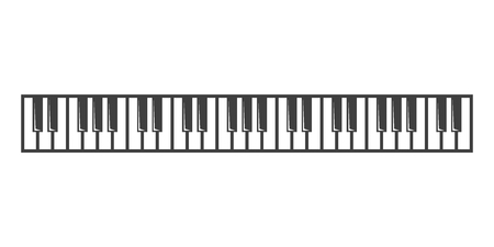 black piano: Vector black piano key icon on grey background. Illustration