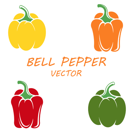 peppers: Vector flat bell peppers icons set on white backgrounds