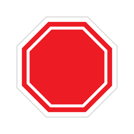 restricted area sign: Vector red blank stop sign on white background