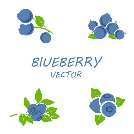 Vector flache blueberry-Symbole auf weißem Hintergrund