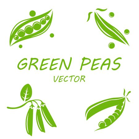 green bean: Vector flat green peas icons set on white background