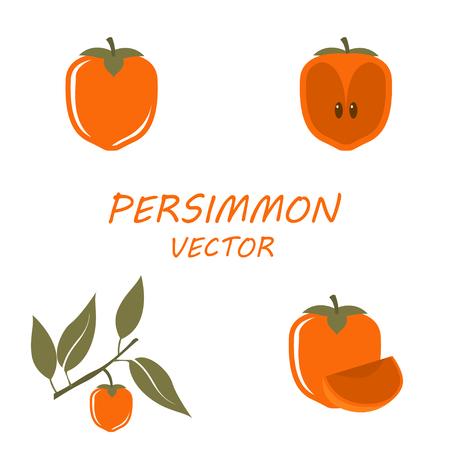 persimmon: Vector de los iconos del caqui establecidos en el fondo blanco