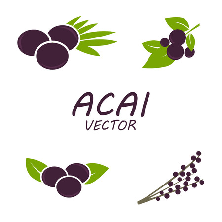 berries: Vector Acai icons set on white background