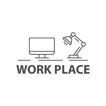 logo informatique: Vector black lieu de travail signe sur fond blanc Illustration