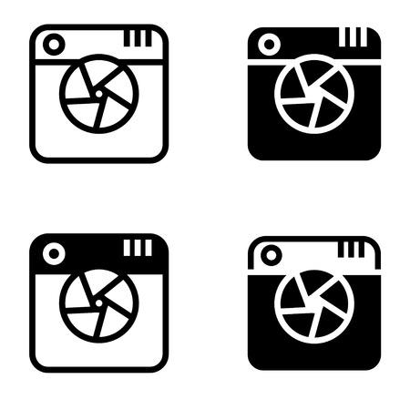 camera symbol: Vector black digital camera icons set on white background