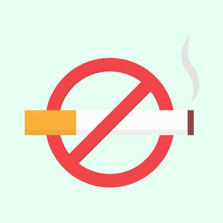 abstain: Flat no smoking icon. Vector isolated illustration Illustration