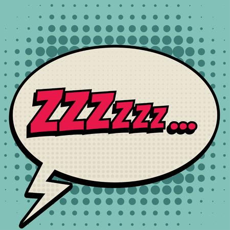 zzz: Zzz comic book bubble text retro style Illustration