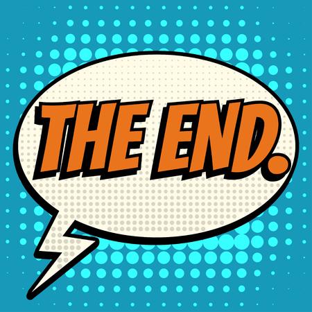 Das Ende Comic-Blase Text Retro-Stil Vektorgrafik