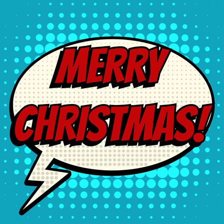 retro christmas: Merry christmas comic book bubble text retro style