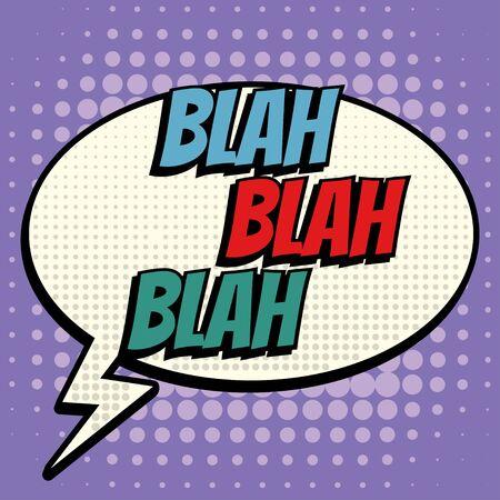 Blah bulle de bande dessinée texte style rétro