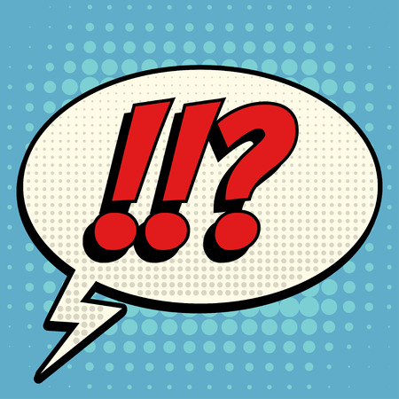 Questions exclamation marks comic book bubble text retro style Illusztráció