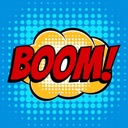Boom comic book bubble text retro style Illustration