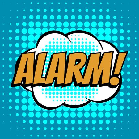text books: Alarm comic book bubble text retro style
