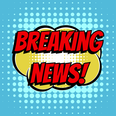 Breaking news comic book bubble text retro style Ilustrace