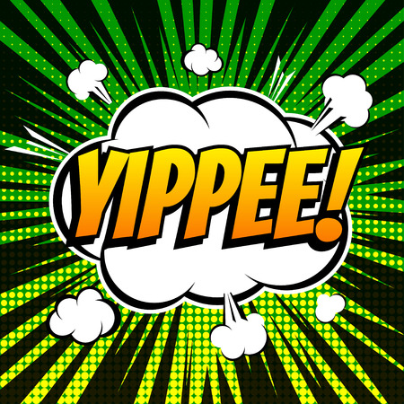 comic background: Yippee comic book bubble text retro style