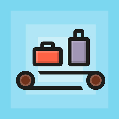 xray machine: Vector flat check luggage for airport icon. Line flat sign
