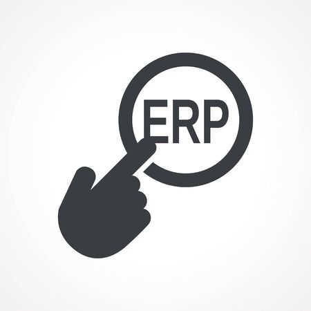 erp: Vector hand with touching a button icon with word ERP on white backgroud
