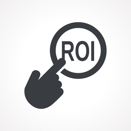 point of interest: Vector hand with touching a button icon with word ROI on white backgroud