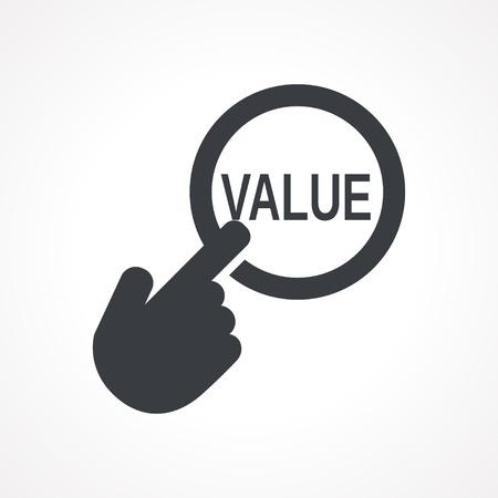 valor: Vector mano con tocar un botón con el icono Valor palabra sobre fondo de color blanco