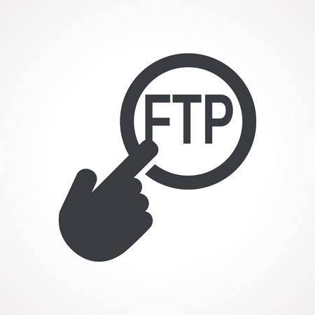 distributed: Vector hand with touching a button icon with word FTP on white backgroud Illustration