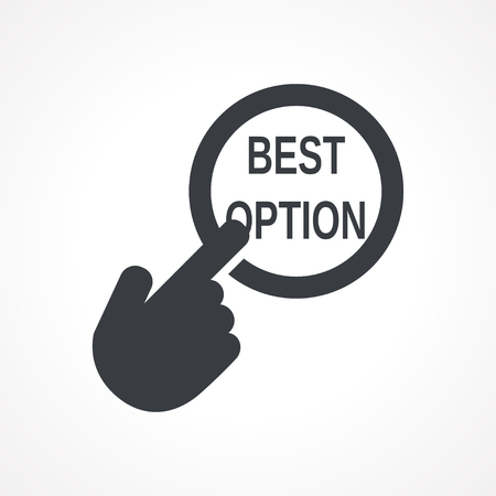 opt: Vector hand with touching a button icon with word Best option on white backgroud Illustration