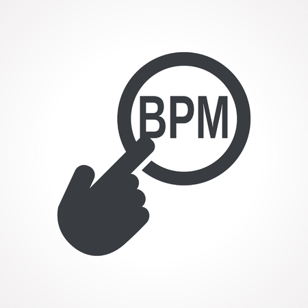 bpm: Vector hand with touching a button icon with word BPM on white backgroud Illustration