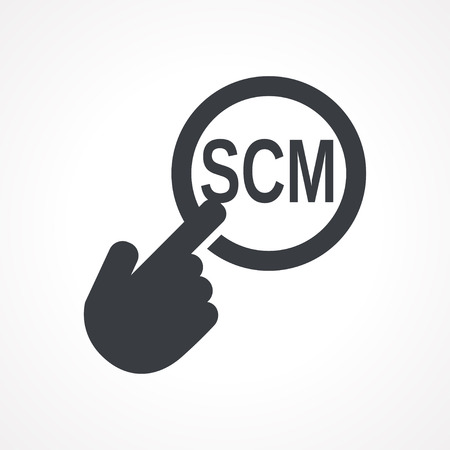 scm: Vector hand with touching a button icon with word SCM on white backgroud Illustration