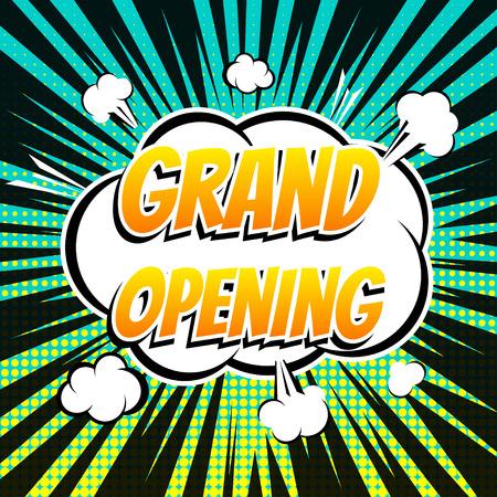 grand sale sticker: Grand opening comic book bubble text retro style