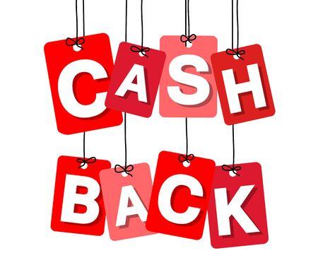 cash back: Vector colorful hanging cardboard. Tags - cash back on white background