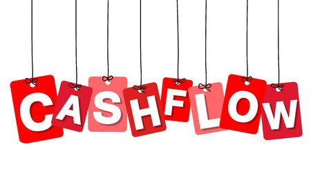 cashflow: Vector colorful hanging cardboard. Tags - cashflow on white background