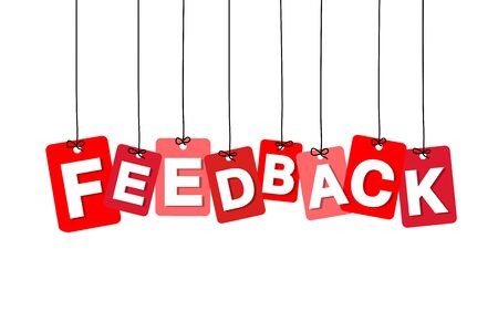 feedback label: Vector colorful hanging cardboard. Tags - feedback on white background Illustration