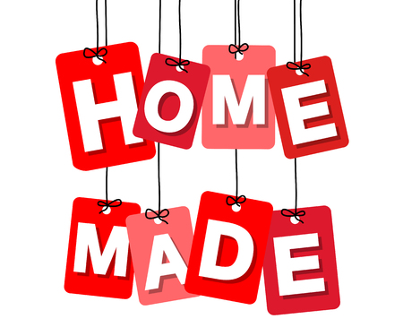 home products: Vector colorful hanging cardboard. Tags - home made on white background Illustration
