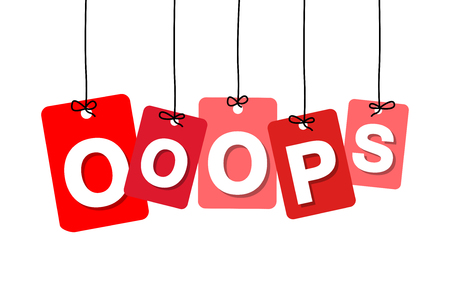 ooops: Vector colorful hanging cardboard. Tags - ooops on white background Illustration
