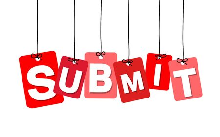 submit: Vector colorful hanging cardboard. Tags - submit on white background Illustration