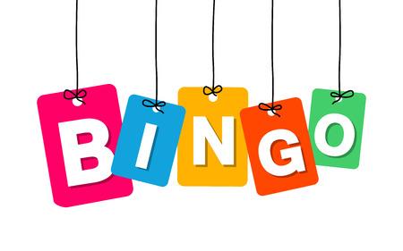 bingo: Vector colgante colorido de cartón. Etiquetas - bingo en el fondo blanco