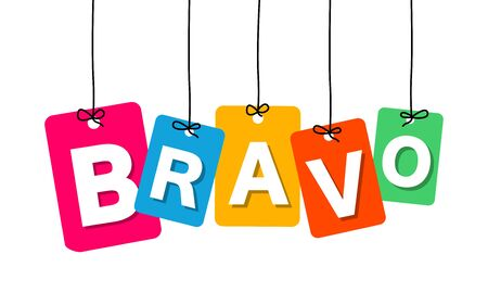 bravo: Vector colorful hanging cardboard. Tags - bravo on white background