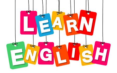 Vector colgante colorido de cartón. Etiquetas - aprender Inglés en el fondo blanco Foto de archivo - 59736982