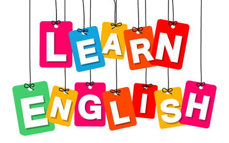 learn: Vector colorful hanging cardboard. Tags - learn english on white background