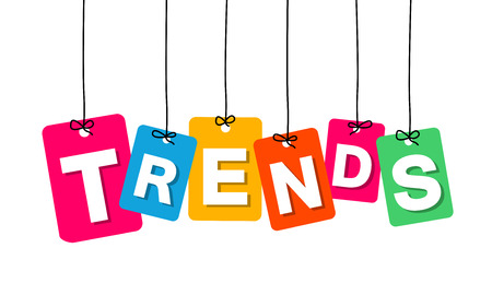 trending: Vector colorful hanging cardboard. Tags - trends on white background